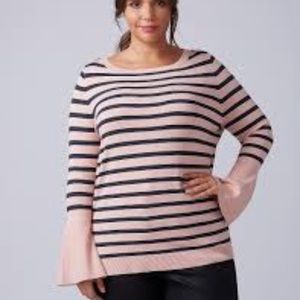 NWT Lane Bryant Pink Striped Belle Sleeve Sweater